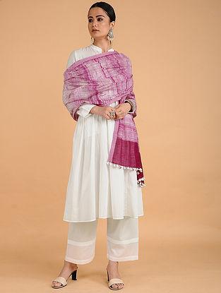 Pink-Ivory Shibori-dyed Cotton Blend Dupatta with Tassels