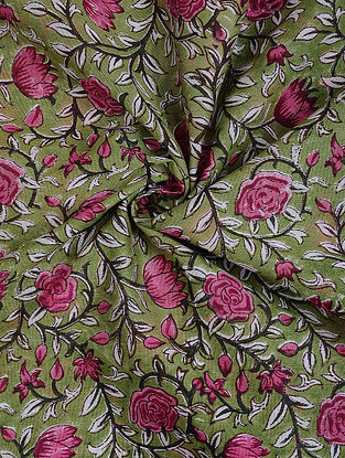 Green-Pink Block Printed Silk Cotton Fabric