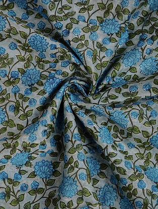 Grey-Blue Block Printed Silk Cotton Fabric