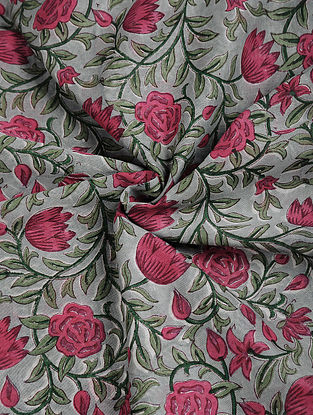 Grey-Pink Block-printed Chanderi Fabric