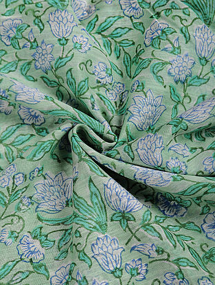 Green-Ivory Block-printed Chanderi Fabric