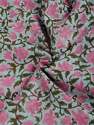 Pink-Blue Block-printed Chanderi Fabric