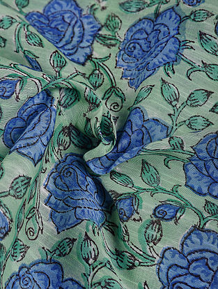 Green-Blue Block-printed Chanderi Fabric