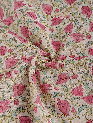 Pink-Green Block-printed Chanderi Fabric