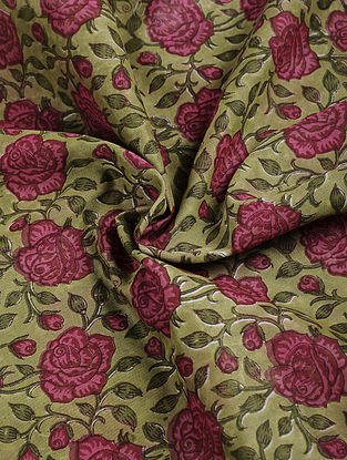 Green-Pink Block-printed Chanderi Fabric