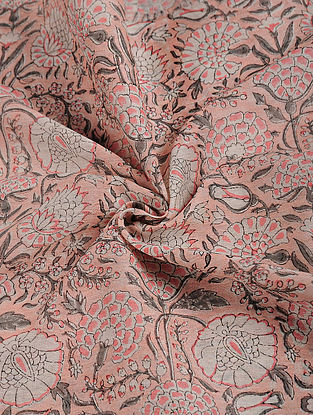 Peach-Grey Block-printed Chanderi Fabric