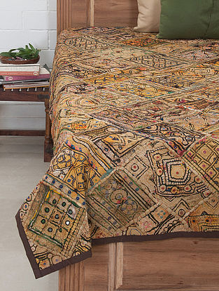 Multi-Color Zari Embroidered Bed Cover 91in x 70in