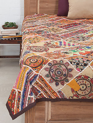 Multi-Color Thread Embroidered Bed Cover 92in x 74in