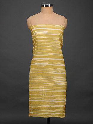 Mustard-Ivory Printed Tussar Silk Kurta Fabric