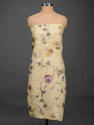 Beige-Purple Printed Tussar Silk Kurta Fabric
