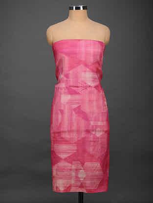 Pink Printed Tussar Silk Kurta Fabric