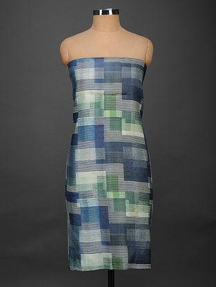 Blue-Green Printed Tussar Silk Kurta Fabric