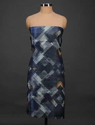 Blue-Ivory Printed Tussar Silk Kurta Fabric