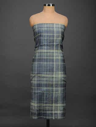Blue-Grey Printed Tussar Silk Kurta Fabric
