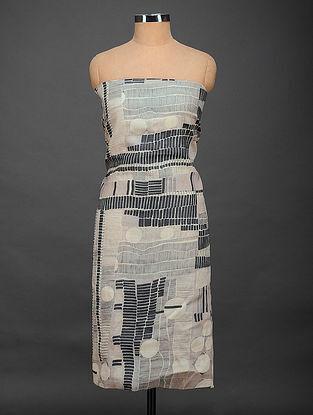 Grey-Black Printed Tussar Silk Kurta Fabric