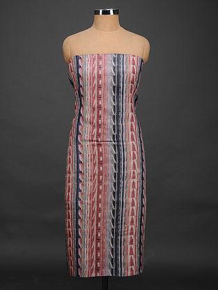 Red-Black Printed Tussar Silk Kurta Fabric