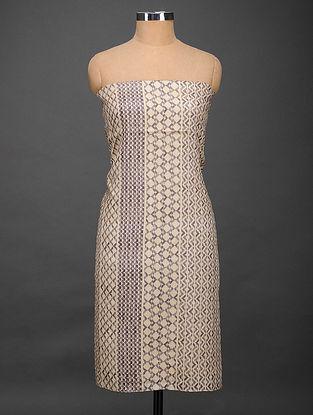 Cream-Black Printed Tussar Silk Kurta Fabric