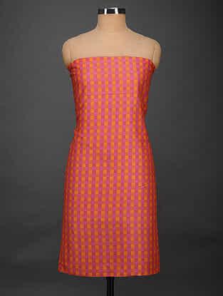 Pink-Orange Printed Muga Silk Kurta Fabric