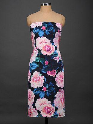 Black-Pink Printed Satin Silk Kurta Fabric