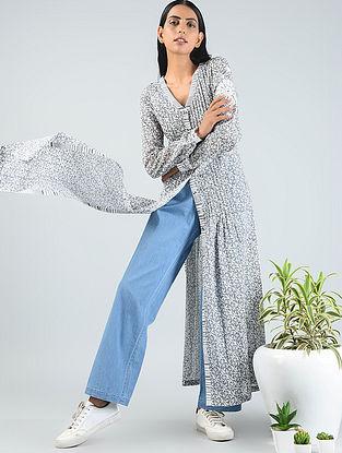 Grey Block-printed Pleated Cotton Tunic