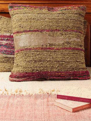 Handspun Brown Tussar Silk Cushion Cover 19in X 19in
