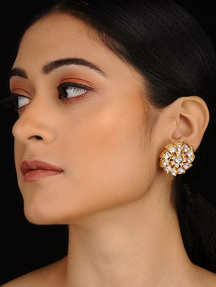 Classic Gold Plated Meenakari and Jadau Stud Earrings