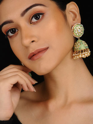 Mint Green Gold Plated Meenakari and Jadau Jhumkis