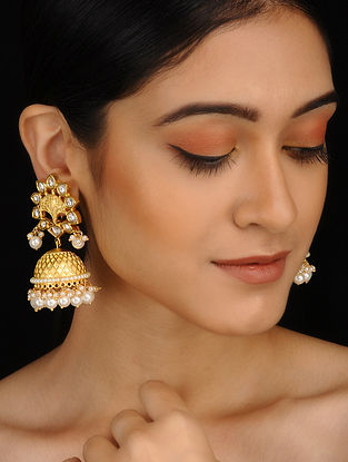Yellow Gold Plated Jhumkis with Pearls