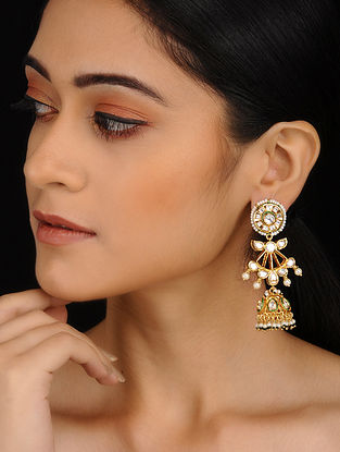 Classic Gold Plated Polki Jhumkis with Pearls