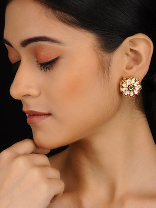Gold Plated Meenakari Stud Earrings