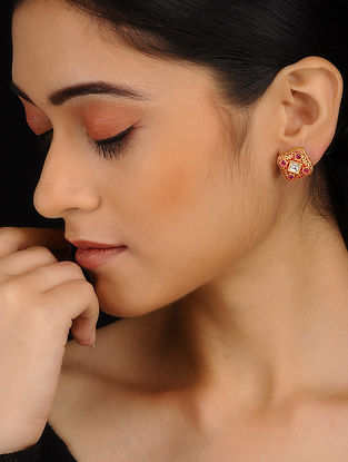 Red Gold Plated Meenakari Stud Earrings