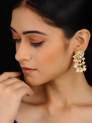 Classic Gold Plated Jadau Earrings with Pearls