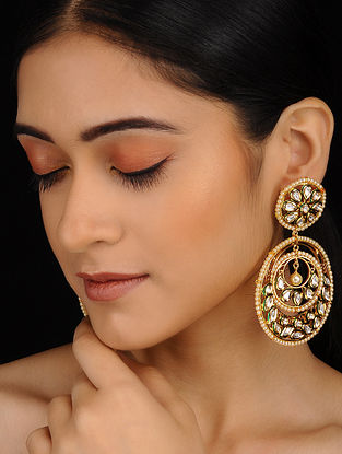 Gold Plated Polki Chandbali Earrings with Pearls