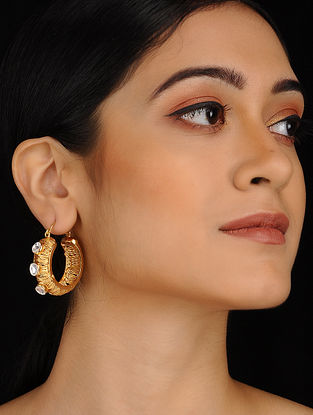 Classic Gold Plated Brass Stud Hoops with Polki Stones