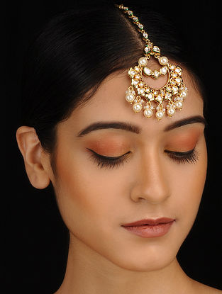 Gold Plated Maang Tikka with Polki and Pearls