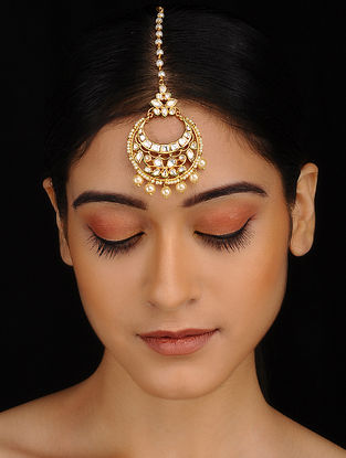 Classic Gold Plated Maang Tikka with Polki and Pearls