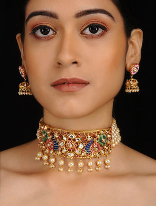 Multicolored Gold Plated Kundan Inspired Meenakari Choker Necklace with Earrings (Set of 2)