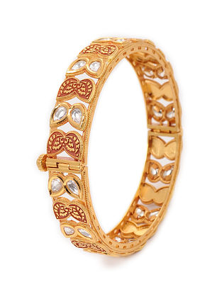 Red Gold Plated Kundan Inspired Meenakari Bangle