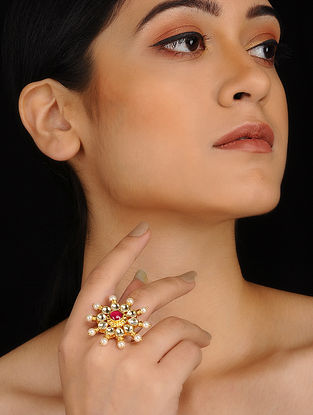 Red Gold Plated Polki and Ruby Adjustable Ring