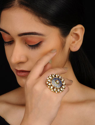 Blue Gold Plated Kundan Inspired Meenakari Adjustable Ring