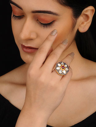 Blue Red Gold Plated Kundan Inspired Meenakari Adjustable Ring
