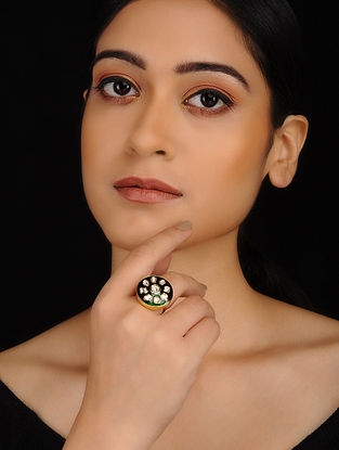 Green Gold Plated Kundan Inspired Meenakari Adjustable Ring