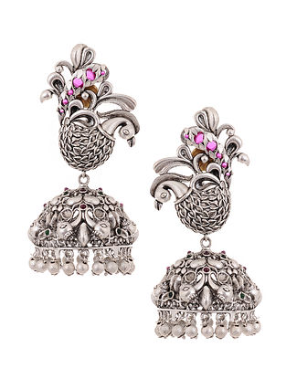 Maroon Green Silver Tone Jhumki Earrings