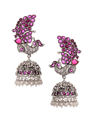 Maroon Silver Tone Jhumki Earrings