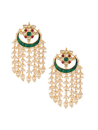 Green Pink Gold Plated Polki Earrings with Pearls