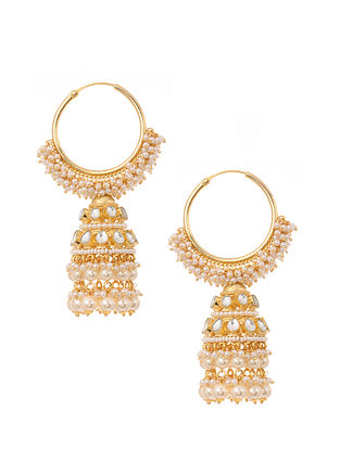 Gold Plated Jhumki Earrings with Pearls