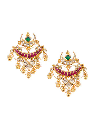 Green Pink Gold Plated Jadau Earrings with Pearls