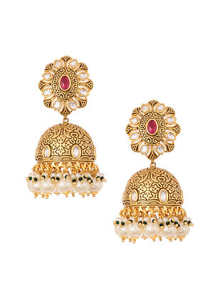 Maroon Green Gold Plated Jhumki Earrings with Pearls