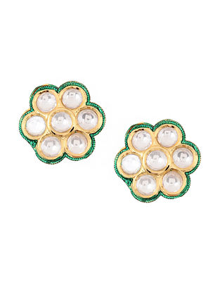 Green Gold Plated Polki and Meenakari Earrings