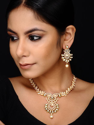 Pearl Gold Plated Meenakari Necklace with Earrings (Set of 2)